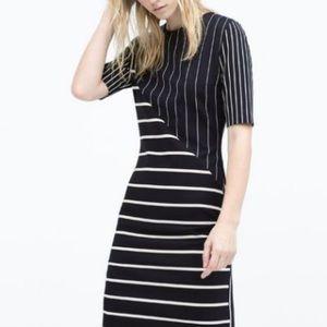 Zara Patchwork Striped Dress Sz S